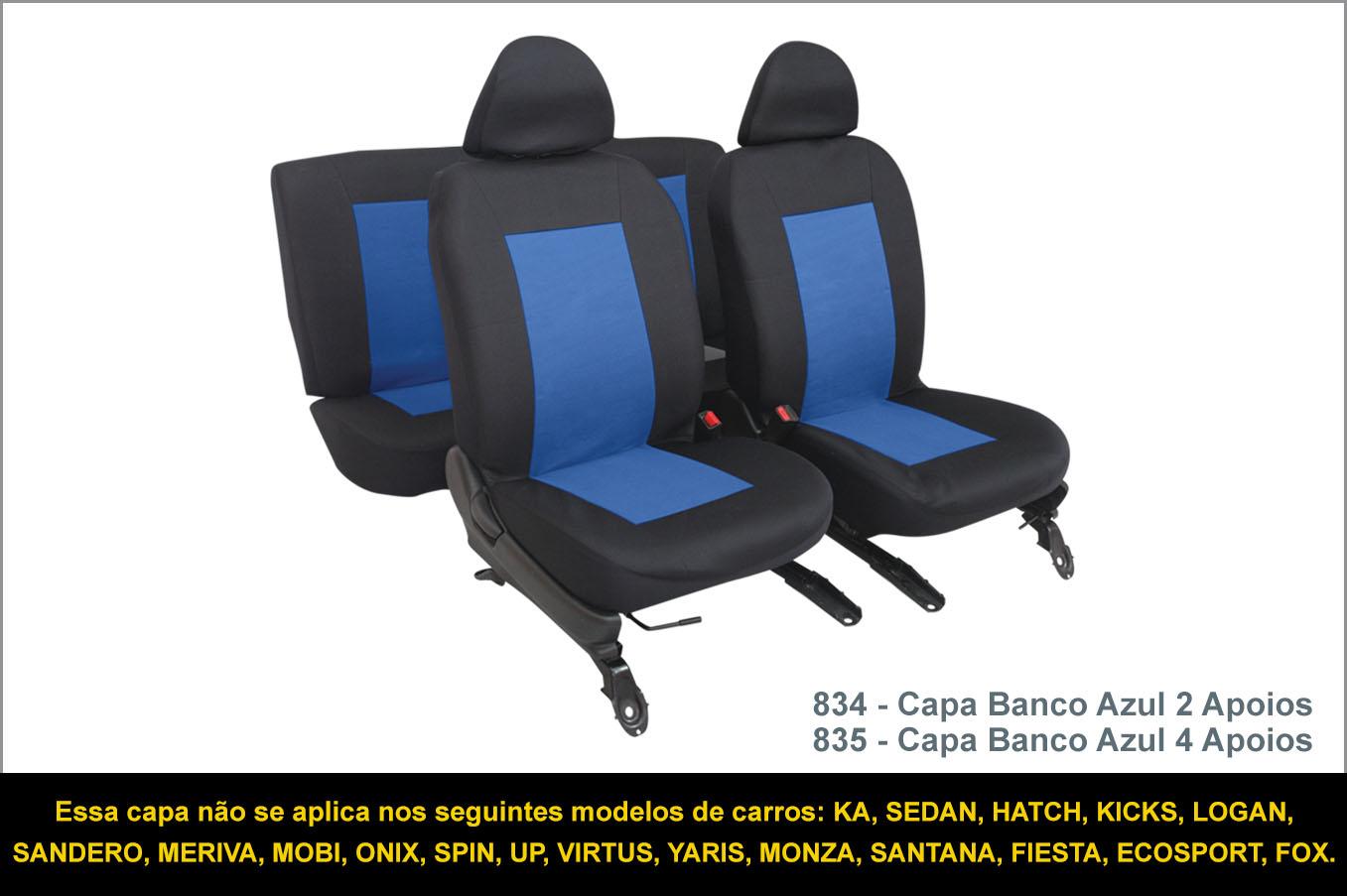 834 835 Capas Azul - Essa capa não se aplica nos seguintes modelos de carros: KA, SEDAN, HATCH, KICKS, LOGAN, SANDERO, MERIVA, MOBI, ONIX, SPIN, UP, VIRTUS, YARIS, MONZA, SANTANA, FIESTA, ECOSPORT, FOX.
